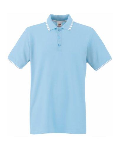 Herren Fruit Of The Loom Tipped Poloshirt Tshirt-Sky/White-52 EU (L)-KOSTENLOSE LIEFERUNG