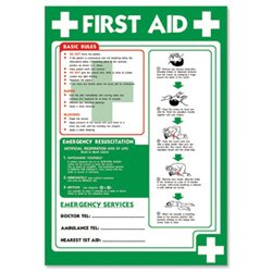 Stewart Superior Laminated Poster First-Aid and Emergency Resuscitation 420x595mm Ref NS032