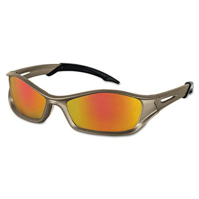 Crews Glasses 135-TB12R Tribal Safety Glass with Champagne Frame, Fire Mirror Lens