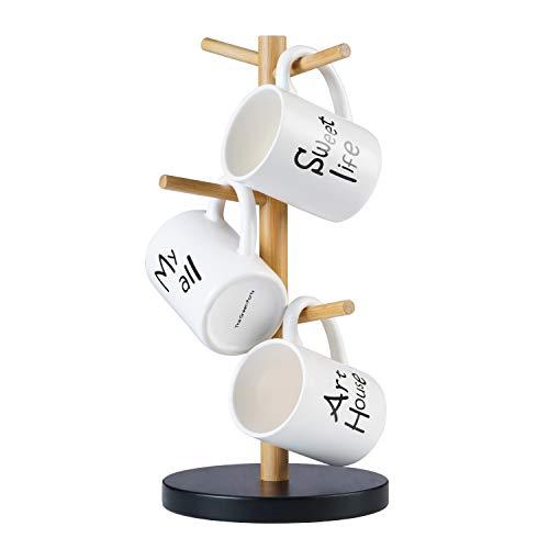 LONTAI Mug Rack Tree Organic Bamboo Mug Stand and Mug Holder for Coffee Tea Cup with 6 Hooks