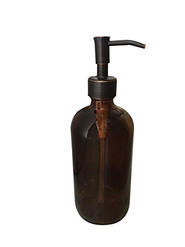 Industrial Rewind Amber Glass with Bronze Soap Dispenser Pump - 2cc Oil Rubbed Bronze Metal Pump - 16oz Glass Boston Round Bottle for Liquid Soap, Dish Soap or Body Lotion (Amber/ORB)
