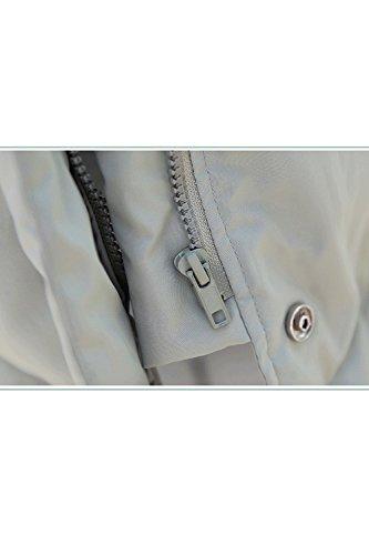 La Mujer Cremallera Parkas Stand Acolchado Con Outwear Cuello Largo Grey Calido Casual Invierno S6qwSrR