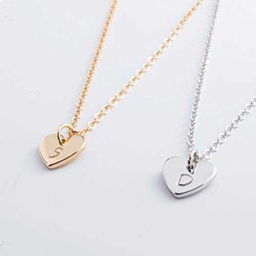 (Free Shipping valentine's day Initial Necklace Personalized Lovely Dainty Initial Heart Necklace/ 16k Gold Rose Gold White Gold Plated/Christmas Wedding)