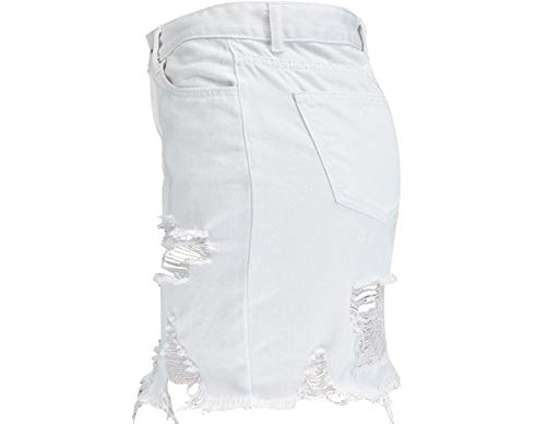 White Mujeres Para Mujer Faldas Lápiz Mezclilla Falda Alta Swovq Cintura De Irregulares Rasgados wY6qUZ7a