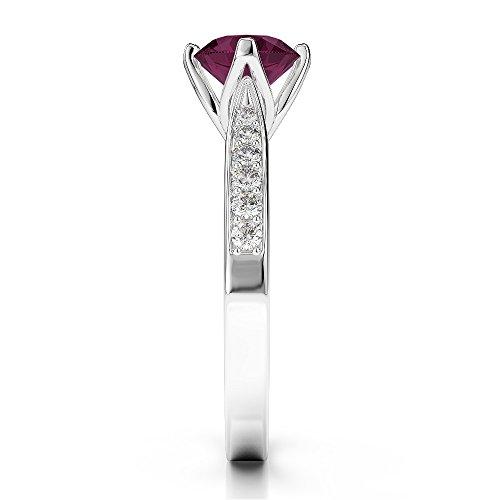 Or blanc 18carats 1CT G-H/VS sertie de diamants ronds Cut Rubis et bague de fiançailles Agdr-1204