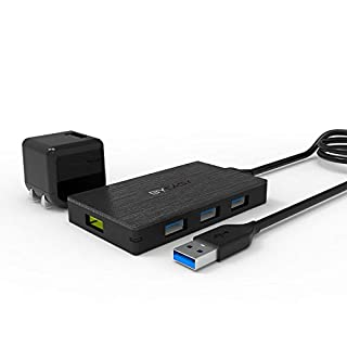 Powered USB Hub, BYEASY Aluminum USB 3.0 Hub 4 Ports with Power Adapter and 1 BC 1.2 Charging Port, Ultra Slim USB Splitter for iMac Pro, MacBook Air/Mini, PS4, Surface Pro, Notebook PC, Laptop, HDD