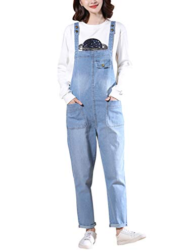 Gihuo Women's Baggy Denim Bib Jean Overalls (Large, Light Blue) (Jean Womans Jumpsuits)