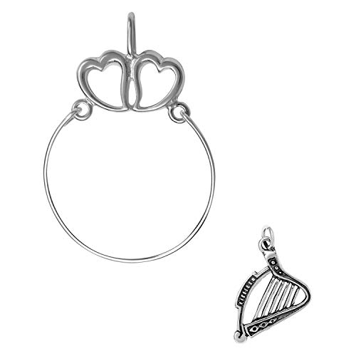 Tempo Metal Finish - Raposa Elegance Sterling Silver Harp Instrument Charm on a Hearts Charm Holder