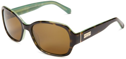 Kate Spade Women's Akira Polarized Rectangular Sunglasses,Tortoise Mint,54 mm