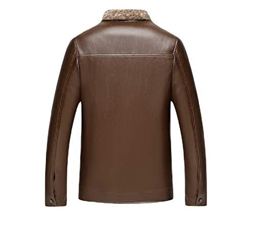 Jacket Winter Leather Brown Coat Fleece Mens Faux VITryst Casual Warm Vintage a4xwZqgx86