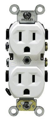 Duty Grade Vacuum White Heavy - Leviton 5014-WSP 15 Amp, 125 Volt, Receptacle Duplex, 2 Pole, 3 Wire, Commercial Grade, White