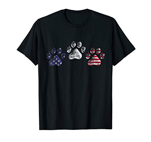 Red White Blue Dog Paws USA Flag 4th Of July Shirt Gifts]()