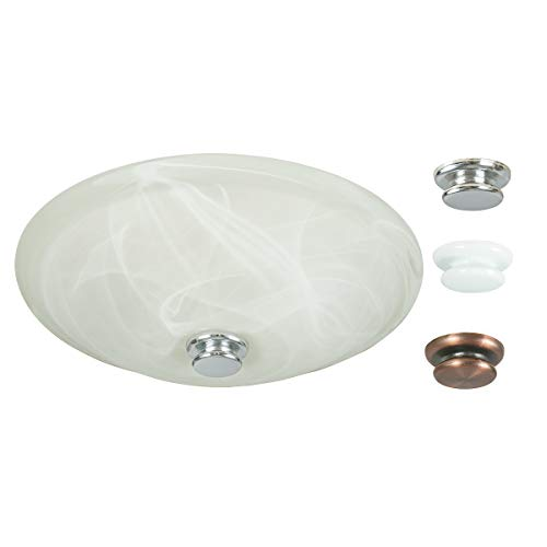 Round Ultra Hunter - Hunter Home Comfort 80200a Boswell Decorative Bathroom Ventilation Fan with Light and 3 Interchangeable Finials Included (Chrome, White, and Oil-Rubbed Bronze), Various