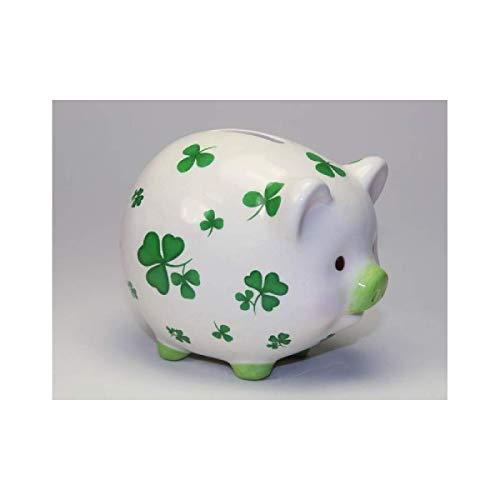 Cosmos Gifts 20894 Shamrock Piggy Bank, Green