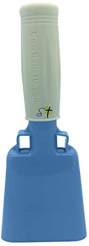 6.1 inch Carolina Blue Bell White Handle Cowbell with Stick Grip Handle Used for Cheering at Sporting Events - Cow Bell by Stewart -