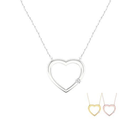 - IGI Certified 10K White Gold 1/10Ct TDW Diamond Solitaire Heart Necklace(I-J,I2)