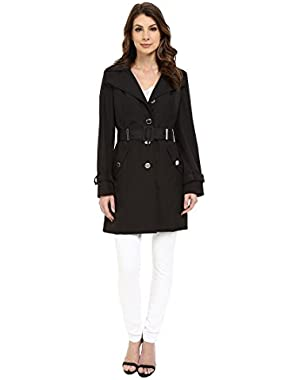 Calvin Klein Womens Single Breasted Hooded Belted Trench w/ Printed Liner