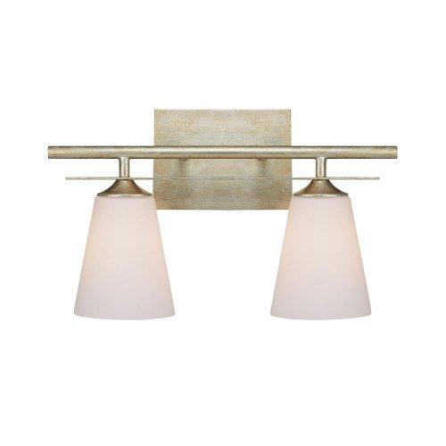 Capital Lighting 1737WG-122 Soho 2-Light Vanity Fixture, Winter Gold with Soft White Glass ()