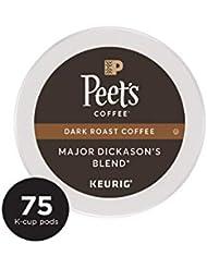 Peet's Coffee Major Dickason's Blend, Dark Roast, 75 Count Single Serve K-Cup Coffee Pods for Keurig Coffee Maker