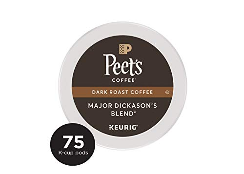 (Peet's Coffee Major Dickason's Blend, Dark Roast, 75 Count Single Serve K-Cup Coffee Pods for Keurig Coffee Maker)