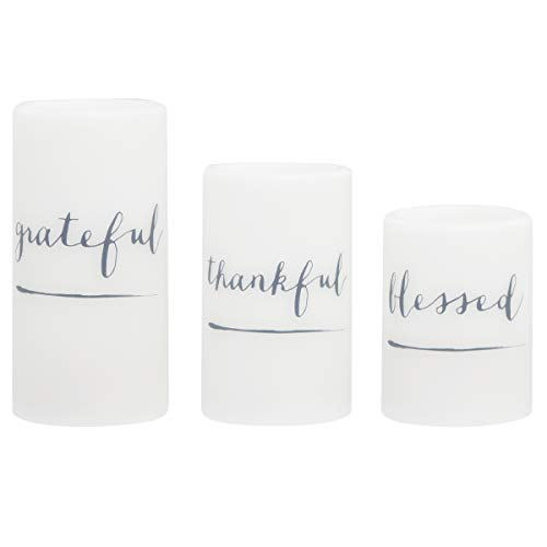 3-Piece Flickering LED Candle Set with Daily Timer by Order Home Collection, Flameless Candles, Real Wax, Battery Powered, Light Dances and Flickers, Tiered Pillars (Grateful, Thankful, Blessed) ()