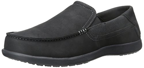 Crocs Men's Santa Cruz 2 Luxe Leather M Slip-On Loafer, Black/Black, 11 M (Crocs Santa Cruz Men)