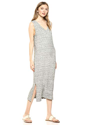 Daily Ritual Women's Supersoft Terry Sleeveless V-Neck Midi Dress, Heather Grey Spacedye , XX-Large