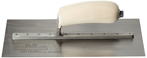 MARSHALLTOWN The Premier Line MXS1SS 11-Inch by 4-1/2 Stainless Steel Finishing Trowel with Curved Wood - 11