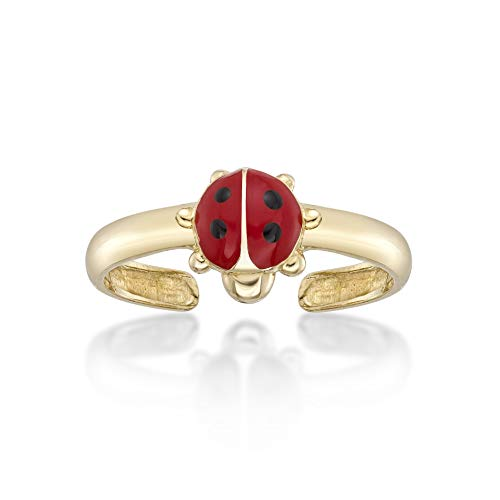 Lavari - 14K Yellow Gold Ladybug Toe Ring Adjustable
