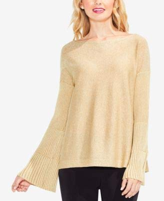 (VINCE CAMUTO Womens Ribbed Bell Sleeve Lurex Sweater Bisque XL One Size)