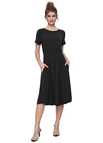 Weintee Women's Shirred Waist Midi Dress with Pockets L Black