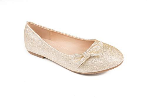 Pipiolo Bow Slip On Ballet Flats - Shoes for Girls (Glitter Gold, 12 M US Little Kid)