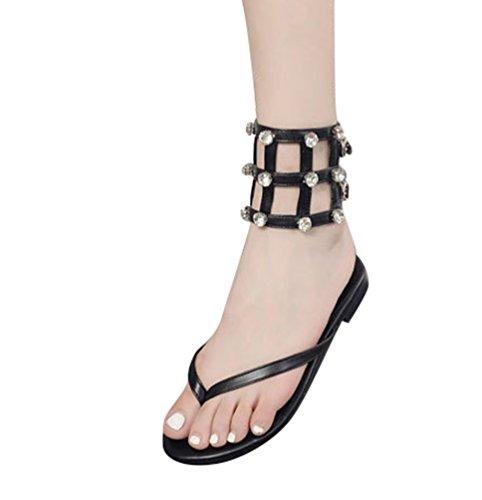 LvRao Mujer Romano Sandalias Diamante de Imitación Punta Abierta Hebilla Clip dedo del Pie Sandalias Negro