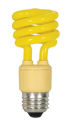 (Pack of 48) Satco S7267, 13 Watt (60 Watt) Mini Spiral Color CFL Light Bulb, Bug Yellow, Compact Fluorescent Bulb