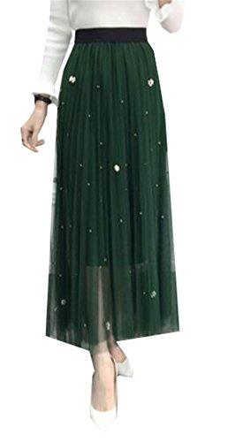 Aoliait Femme Jupe Longue ElGant Tulle Jupe Tendance Jupe Plisse Slim Fit Jupe A-Line Beau Femelle Skirt Swing Glamour Jupe Green