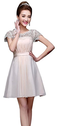 Drasawee Champagne Short Lace Prom Dress Evening Chiffon Bridal Neckline Women Junior wSTgqZ