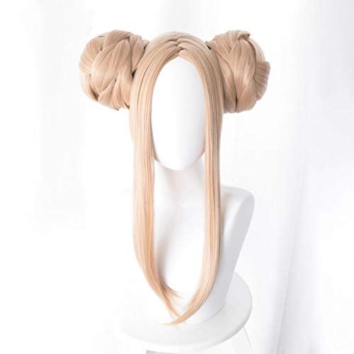 WUX Hairpieces Fate/Grand Order (Abigail Williams Swimsuit) Anime Cosplay Rose Net Wigs 100% High-Temperature Resistant Fiber Gold Long Straight Two hair bags Hair 18inches
