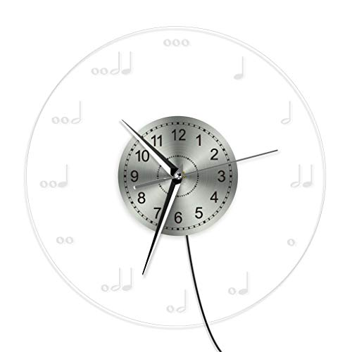 (Zdtxkj Musical Notation Wall Clock with Led Illumination Musical Notes Lighted Modern Wall Clock Treble Clef Neon Sign Music Room Decor)