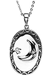 Moon Pendant with Chain in Sterling Silver