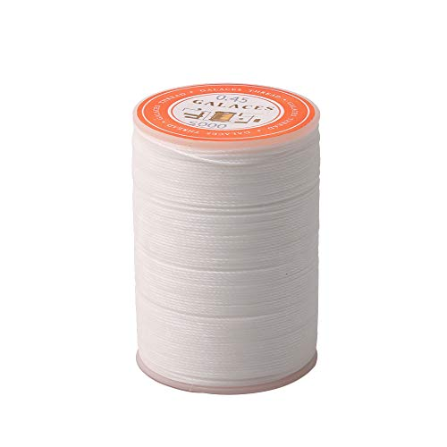 BQLZR 0.45mm White Polyester Wax Linen Thread Sewing Thread for Handing Sewing Leather DIY Crafts and Bookbinding