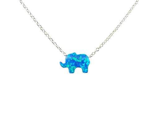 Blue Opal Elephant 925 Sterling Silver Necklace. Lucky Elephant Necklace (16 Inches)