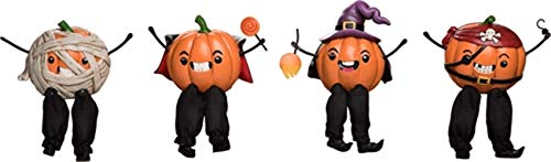 Transpac Imports, Inc. Dress Up Pumpkin Shelf Sitter Orange 5 x 3 Resin Halloween Figurines Set of 4