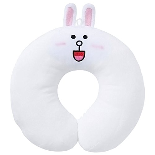 Line Character Emoticon Figure Stuffed Toy Travel Neck Support Pillow with Comfortable to Sleep Perfect Pillow for Airplane, Bus, Train, Car or Office - Cony (Tempur Discount)