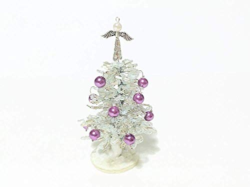 """3.5"""" Beaded Little White Christmas Tree with Angel Topper & Ornaments. Holiday Office Gift Idea. Handmade Christmas Present. Stuffing Stocker"""