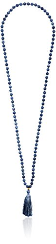 Satya Jewelry Classics Blue Sponge Coral Gold Plate Lotus Tassel Mala Strand Necklace, 40'' by Satya Jewelry