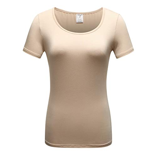 OThread & Co. Women's Short Sleeve T-Shirt Scoop Neck Basic Layer Spandex Shirts (Large, Apricot) ()