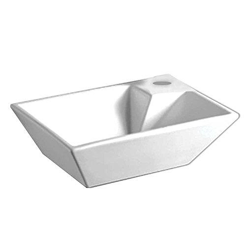 Basin Mount Wall China Vanity - Whitehaus WHKN1142 WHKN1142Isabella Rectangular Wall Mount Basin & Right Offset single Faucet Hole, White