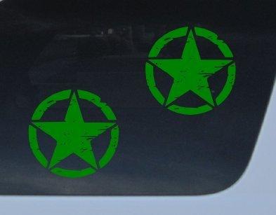 "GET 2 Oscar Mike GREEN 5"" vinyl decal distressed star willys wrangler jk cj yj xj jk tj jeep Car Auto Window Sticker"