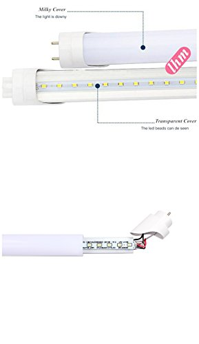 Easy-Installing &Eco-Friendly T8 LED Tube Light - 4FT 47'' 120CM 14W (32W Equivalent), Double-End Powered, Milky Cover, Works from 85-265VAC Fluorescent Replacement Lamp (1, 4ft Cool White 6000K-6500K) by Aurora Australis (Image #4)