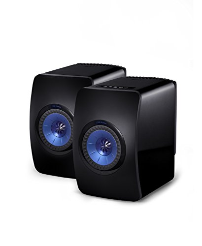 KEF LS50W Powered Music System - Gloss Black/Blue (Pair)